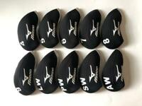 10PCS Golf Club Covers Protector for Mizuno Iron Headcovers 4-LW Black&Black RH
