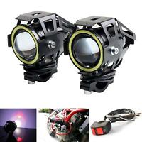 2PCS CREE U7 LED 125W Motorcycle Headlight Driving Fog Light  White DRL + Switch