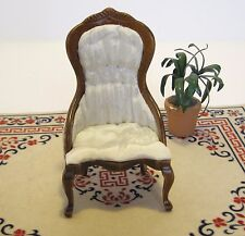 Dollhouse Miniature  Furniture ~ Ladies Chair in a White Satin Brocade ~ Walnut