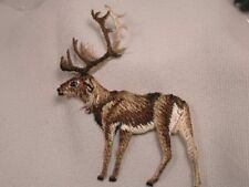 Natural Elk Caribou Embroidered Iron On Applique Patch