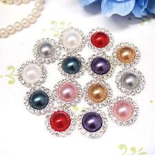 Fashion Crystal DIY Buckle Rhinestone Pearl Cluster Button Round