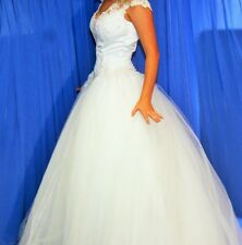 BRIDAL WEDDING DRESS - WHITE LACE SATIN WITH ENCRUSTED JEWELS & TULLE