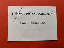 Paul GÉRALDY - Carte de visite autographe