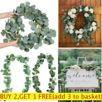 2m Artificial Fake Eucalyptus Garland Wreath Greenery Leaf Vine Plants Foliage