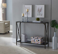 Kings Brand Furniture - Kandin Console Table with Glass Top, Pewter / Black