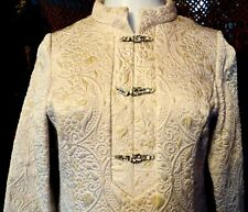 Iconic 50s Jackie O Gold 3D Embroidered Brocade Coat Dress w/Rhinestone Buttons