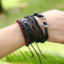 XEONGKVI Europe America Hand Rope Weaving Multilayer Anchor Cowhide Bracelets