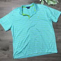 RALPH LAUREN SPORT size XL blue with green stripe polo