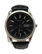 Seiko Solar SNE049 Mens Steel Quartz Blue Dial Black Leather Strap 37mm Watch