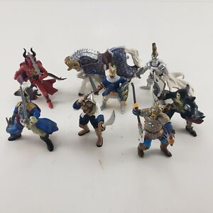 8 Papo Schleich Medieval Fantasy Figures Knights Ram Warriors King Mixed AS IS