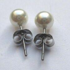 Boucles d'oreilles clou couleur argent perle nacre véritable bijou vintage 5001