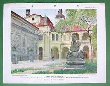PRAGUE Praha Holy House in Loreta Loretto Palace - COLOR Antique Print