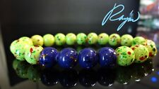 "PURPLE + LIME Gemstone bead bracelet for Men Stretch 10mm 8.25"" inch or 7.5"" in"