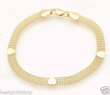 """6.75"""" 5 Row Ball Chain Link Bracelet with Heart Stations REAL 14K Yellow Gold"""
