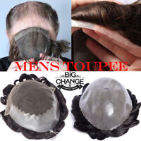 Real Human Hair Toupee Undetectable Hairline Piece PU French Lace Wigs Mens US