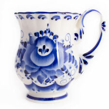 Mug Russian White Blue Porcelain Gzhel Гжель Flower Hand Painted in Russia