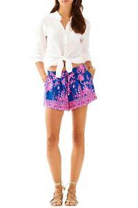 Lilly Pultizer NWT NEW Katia Blue Indigo Pink Print Pocket Drawstring Shorts XS