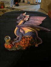 Novelty Inc Resin Purple Pink Dragon with Crystal Ball Figurine Statue