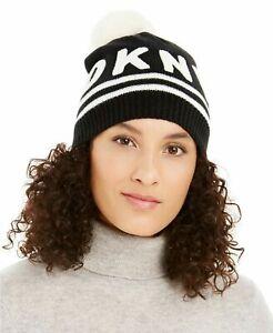 $39 DKNY Designer  Macy's Women's  Logo Stadium Pom pom Beanie Hat Black White