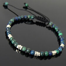 Men's Women Braided Bracelet Mixed Chrysocolla Lapis Sterling Silver Nugget 954