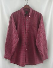 Men's Jos. A. Bank Long Sleeve Button Front Red Plaid Shirt Travelers Size L