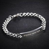 Stainless Steel Personalized Custom Engraved Letter Couple Bangle Bracelets Gift