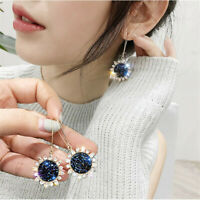 Fashion Sunflower Blue Daisy Jewelry Women Earrings Stud Crystal Long Drop