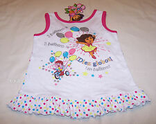 Dora The Explorer Girls White Printed Singlet Pyjama Sleep Top Size 6 New