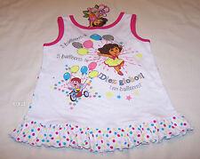 Dora The Explorer Girls White Printed Singlet Pyjama Sleep Top Size 6 New