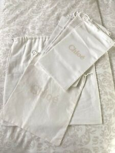 LOT OF 8 CHLOE  OFF WHITE COTTON DRAWSTRING POUCHS  FOR SHOES, BAGS