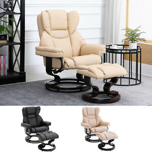 Padded PU Leather Manual Reclining Armchair Sofa Chair w/Footstool Bentwood Base