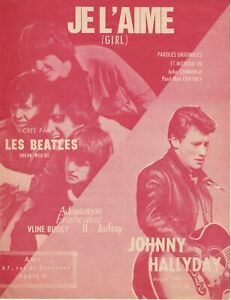 Partition Johnny Hallyday / Beatles, Je l'aime / Girl , éditions A.M.I. rouge