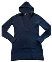 VINCE. medium sweater dress hoodie navy blue 100% cashmere long pullover