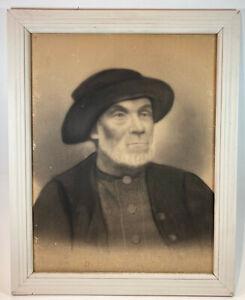 "Vintage Antique Ancestor Charcoal Pencil 16"" x 20"" Framed Portrait Man 1870-1920"