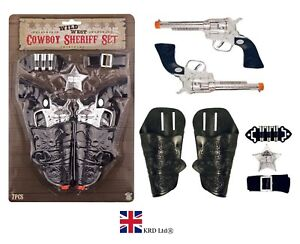 7Pcs COWBOY SET Toy Plastic Gun Holster Fancy Dress Ranger Sheriff Wild West UK