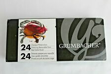 Grumbacher Opaque 24 Color Watercolor Set Removable Pans #4 Red Sable Brush NEW