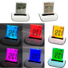 US SHIP  7 LED Color Changing Digital LCD Thermometer Calendar Alarm Clock