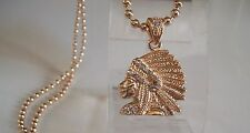 INDIAN CHIEF Warrio Gold Finish CZ Bling Pendant with complementary 30'' Chain