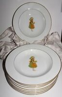 "Holly Hobbie GREEN GIRL China Bowls Gold trim 1974 dishes 8.5"" soup cereal (8)"