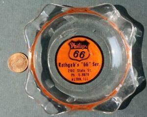 1950s Era Alton Illinois Phillips 66 Gas & Oil Station ashtray shield logo-NICE!