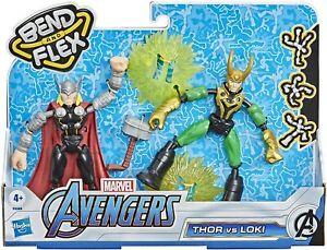 Marvel Avengers Bend and Flex Thor Vs. Loki Action Figure Toys, 6-Inch Flexible