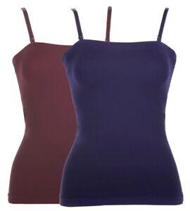 Rhonda Shear 2-Pack Convertible Seamless Bandeau Shelf Bra- Size XL, Wine/Blue