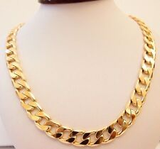 """MEN'S HEAVY 9ct """"GOLD FILLED"""" CURB CHAIN 24"""" NECKLACE . W= 12.5mm Gift"""
