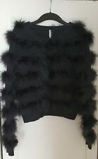 Topshop Premium Natural Knitted Marabou Feather Jumper Black Rare UK Size M