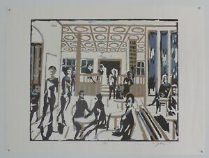 """Wolfgang Göhner - 1961 Schwäbisch Hall """"Coffee Shop"""" woodcut print"""
