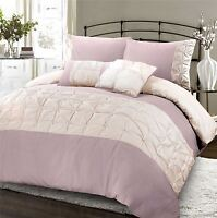 Jones Confection Embellished Cotton Blend Quilt Duvet Cover Set Rose & Oyster
