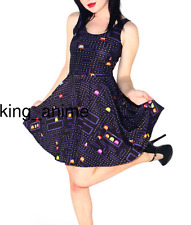 Pac-Man Pacman Cartoon Women Dress Skater Full Printed A-Line Sleeveless Skirt