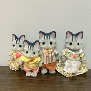 4X Sylvanian Families Harvey Fisher Grey Cat Family Figures Calico Critters Toys