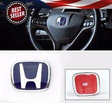 50mm x 42mm Tape on Blue H Horn Button Emblem Badge For Honda OEM Steering wheel