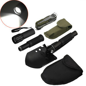 Military Folding Spade Shovel Survival Emergency Hiking Camping Hunting Tool Set